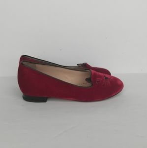 Charlotte Olympia INCY CAPRI CATS Velvet Red Flats